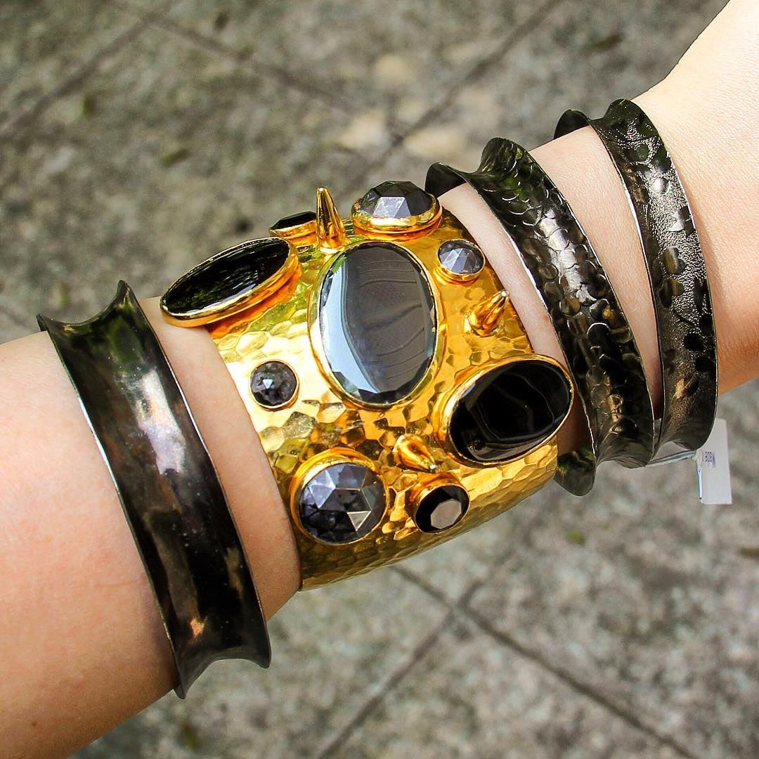 Gold and Black Onyx Statement Cuff