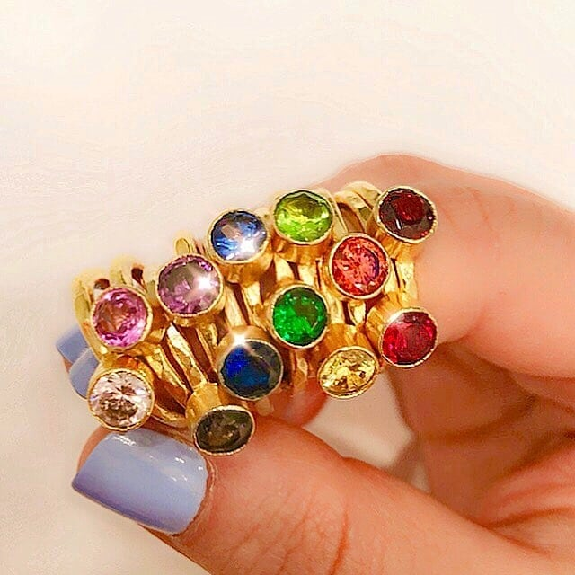 Gemstone, gold dipped stackable rings