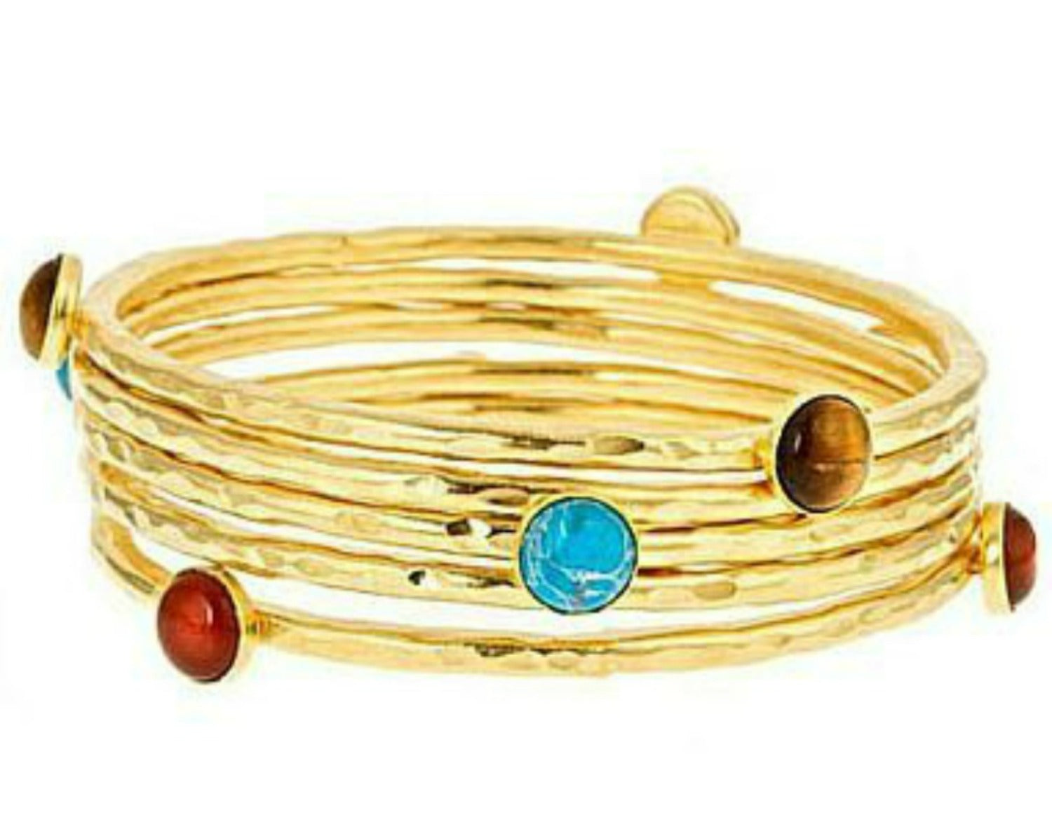 gold-plated gemstone stacking bangle set