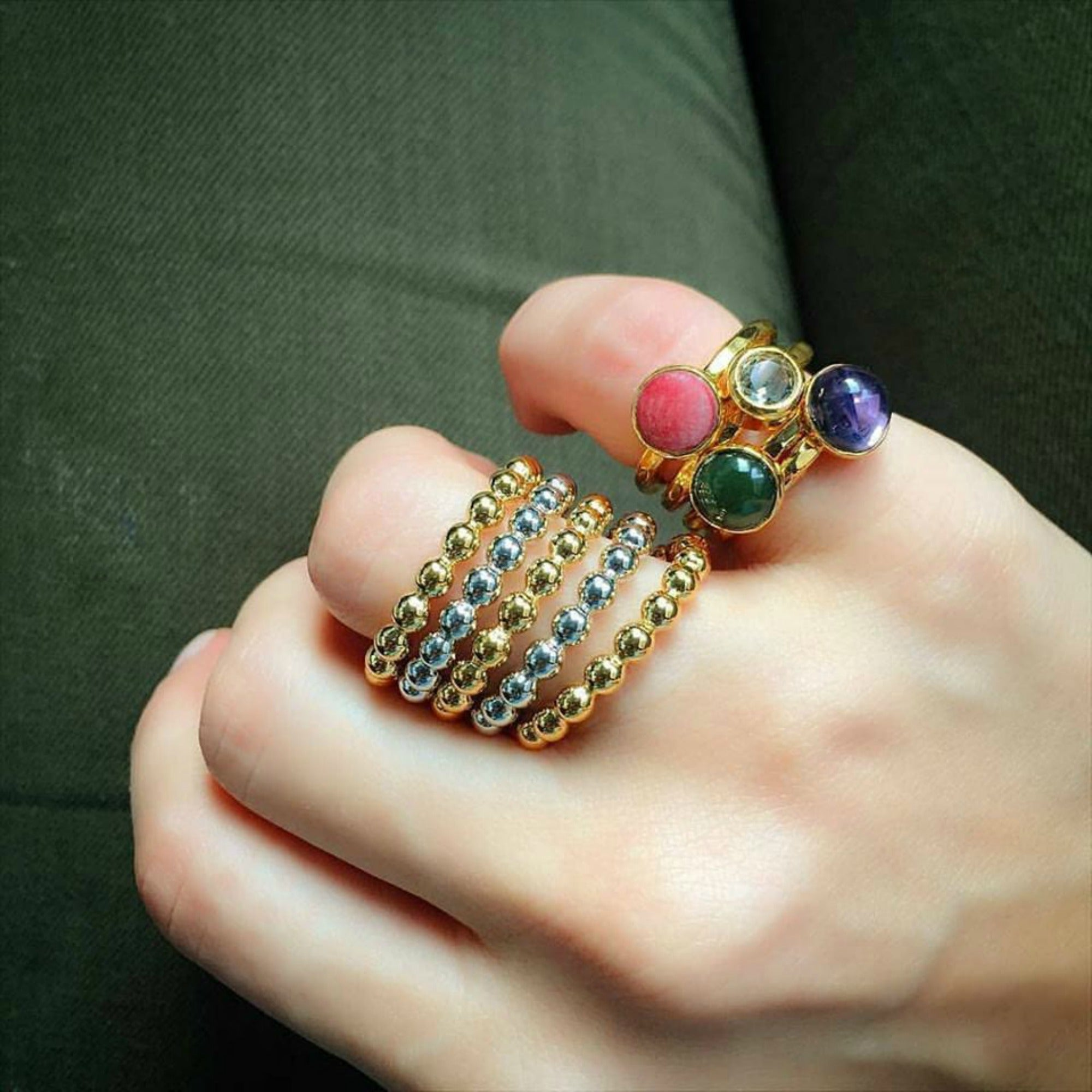 multi-metal stacking bead rings