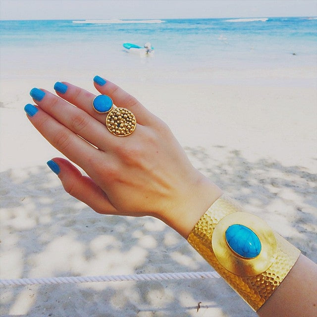 CLAUDIA (2): Stunning Gold Dipped Blue Howlite Gemstone Cuff