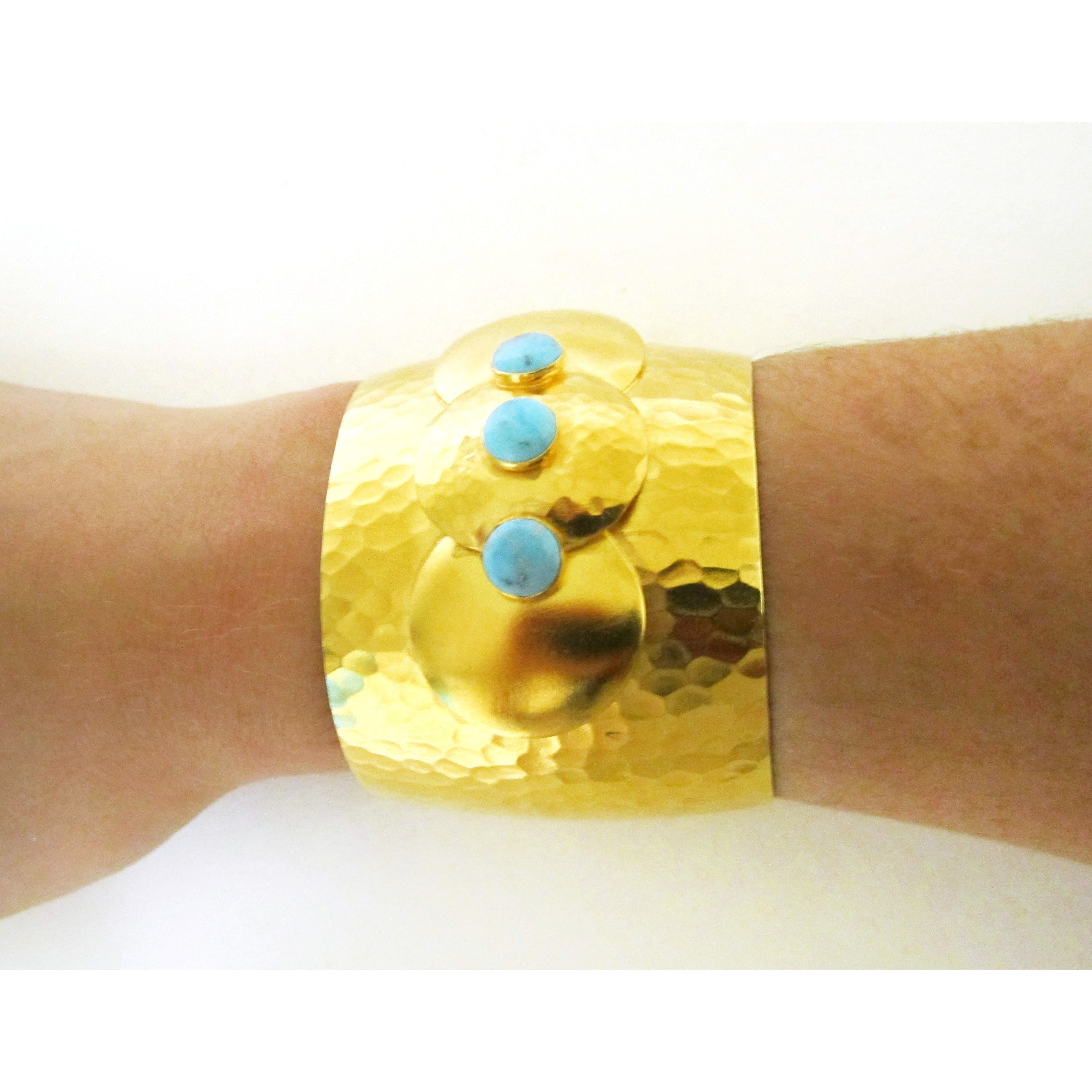 Gold Hammered Turquoise Gemstone Cuff