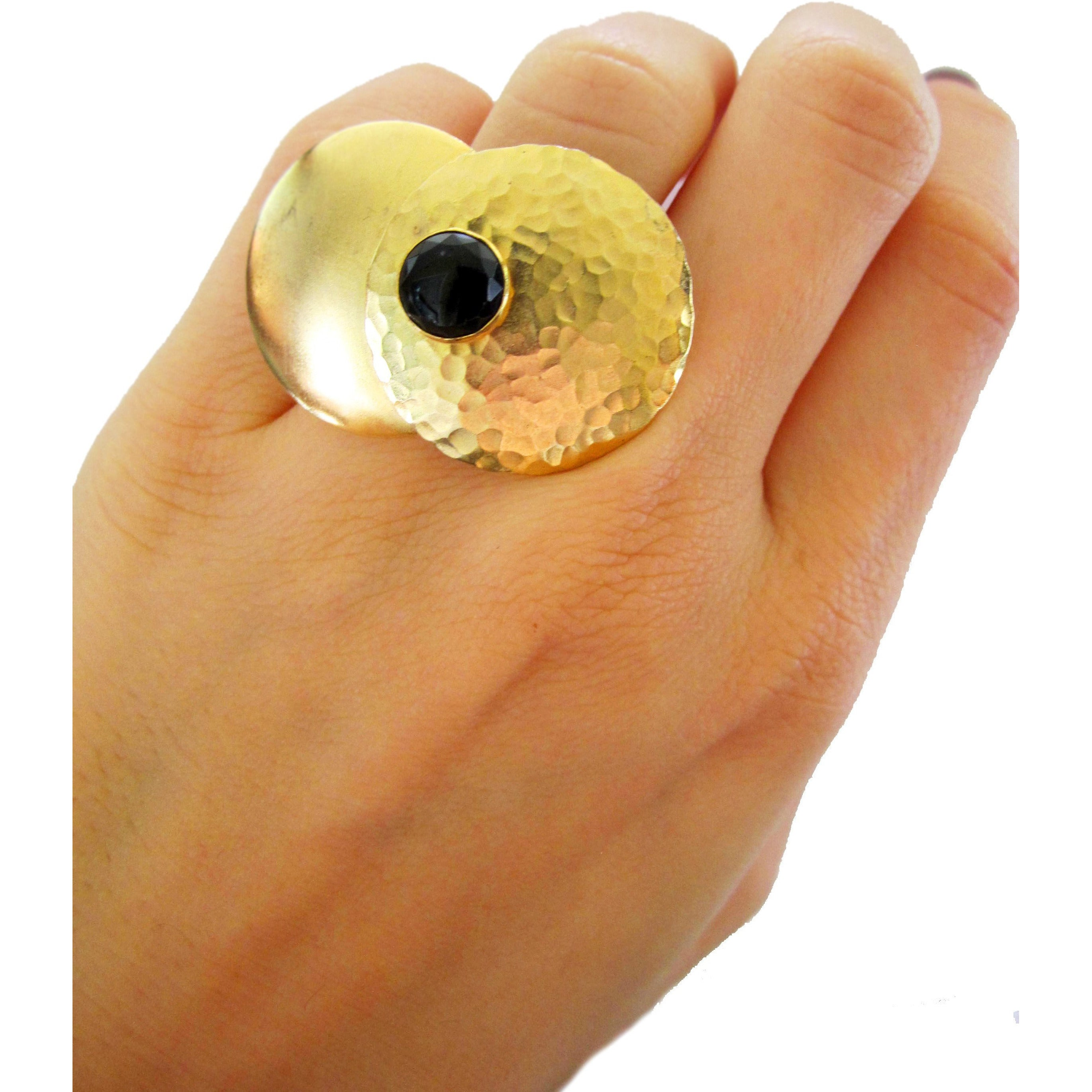 Gold, hammered, black Onyx, cocktail ring