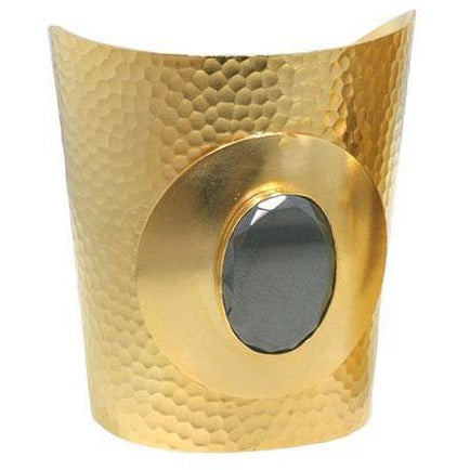 Gold-plated, hammered statement cuff with grey Hemalyke central stone