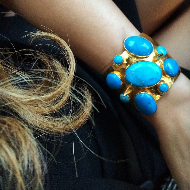 Gold-plated and turquoise Howlite statement goddess cuff