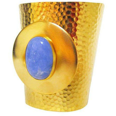 Gold-plated, hammered statement cuff with blue Howlite central stone
