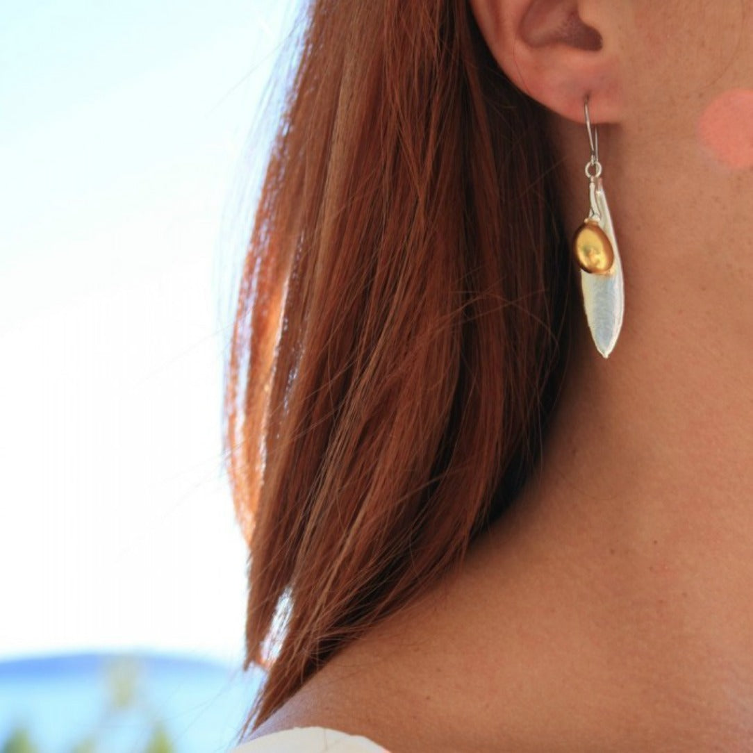 ORIANA: SILVER AND GOLD OLIVE LEAF EARRINGS