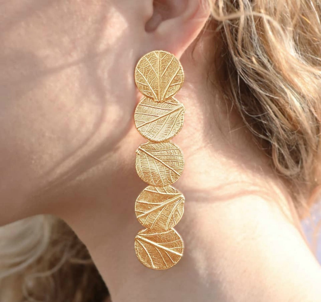 Gold Leaf Inspired Statement Drop Earrings
