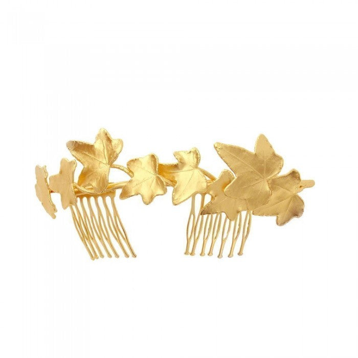 Gold plated floral comb wedding hair accessories