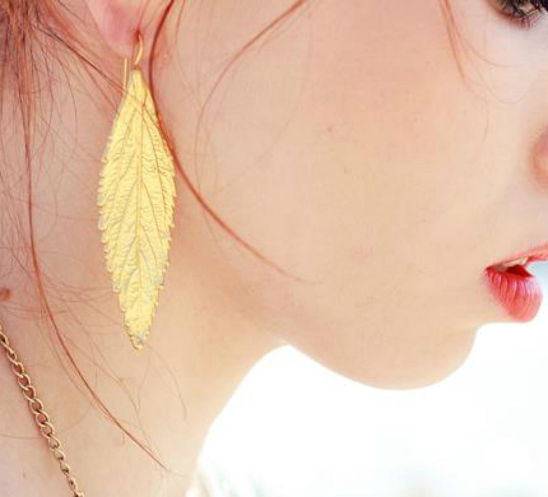 Gold leaf-inspired Statement Drop Earrings