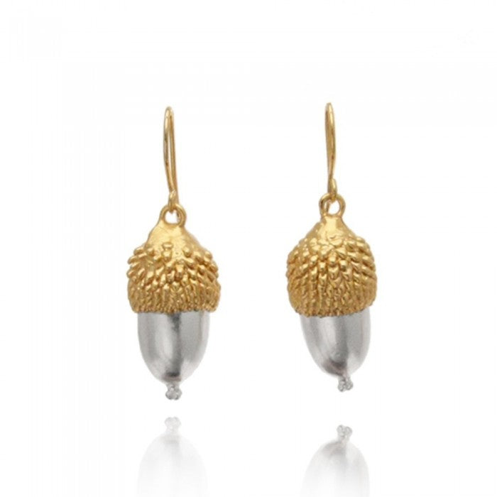 Gold and Silver Acorn Inspired Drop Earrings