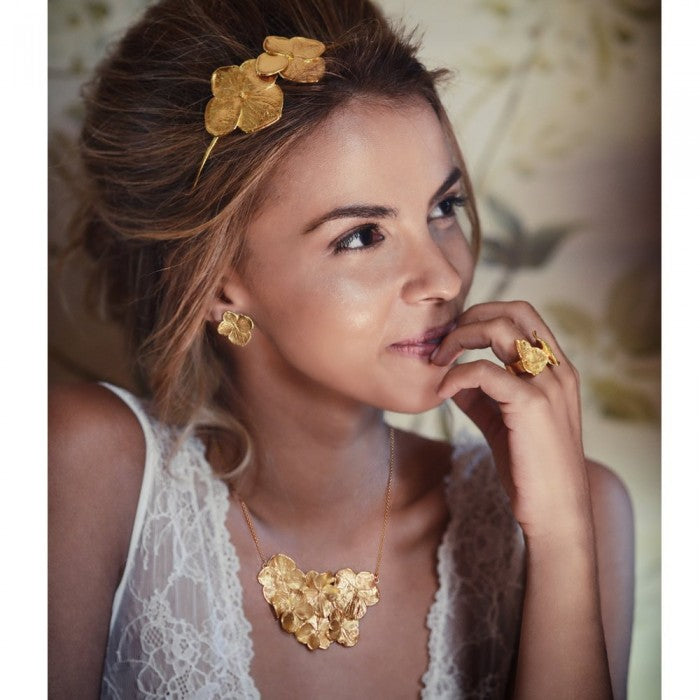 floral designed hair band made in silver and then heavily gold plated in 24 ct gold. Perfect for weddings.