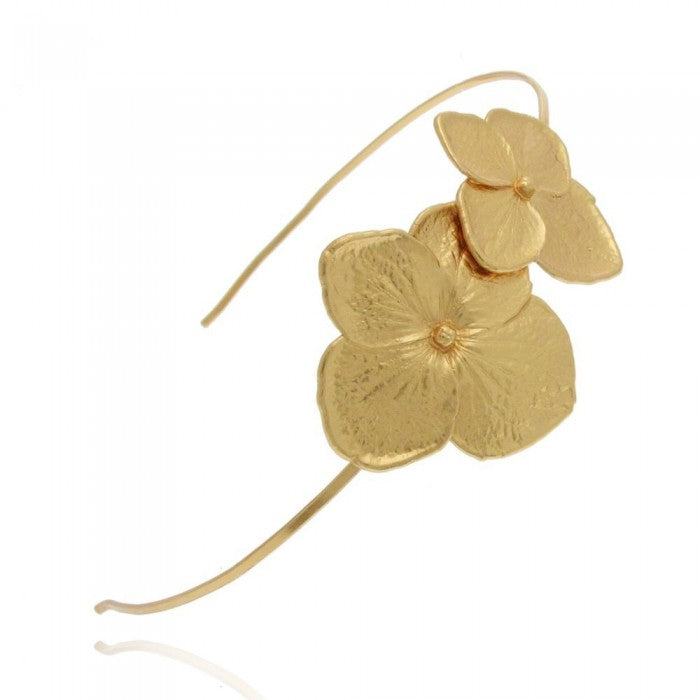 floral designed hair band made in silver and then heavily gold plated in 24 ct gold