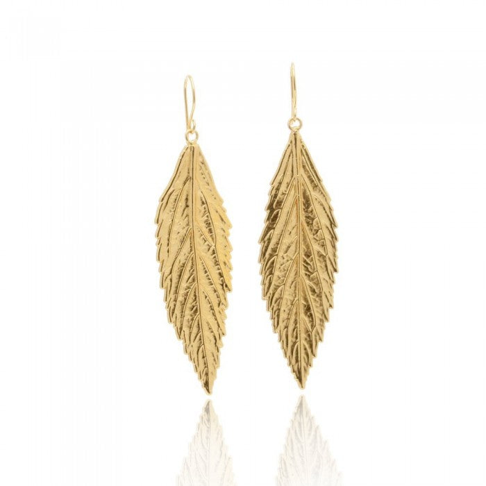 ZOE (1): Gold Leaf-Inspired Drop Statement Earrings