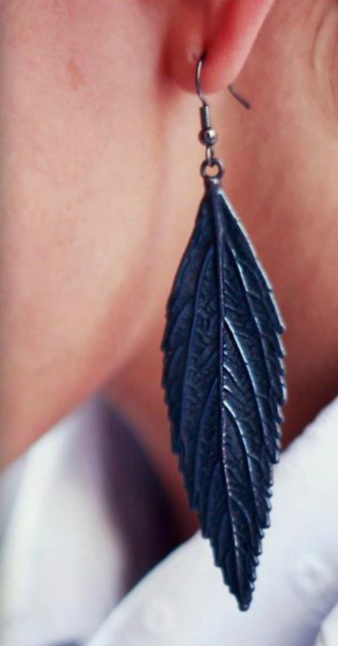 Silver + Black Rhodium Leaf-Inspired Drop Statement Earrings