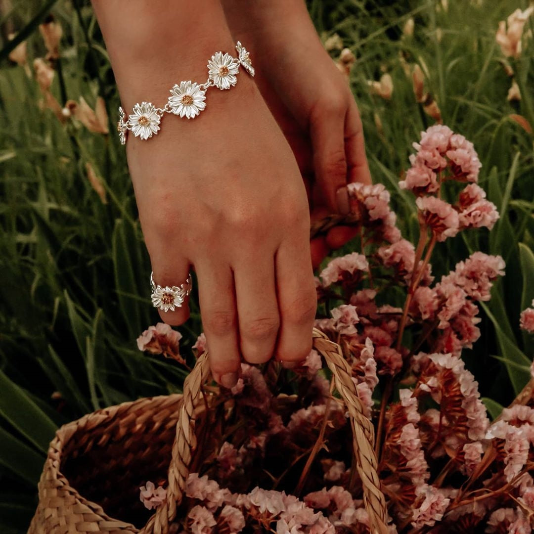 LOTTIE: SILVER AND GOLD DAISY RING