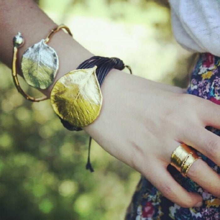 Gold leaf inspired boho cuff with gold and black leather