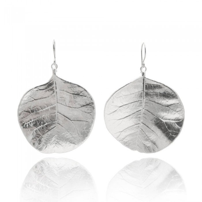 Silver plated leaf-inspired drop earrings