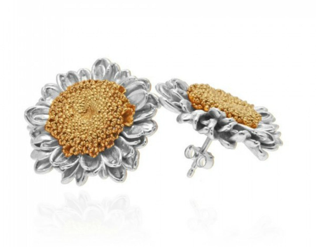 GARCELLE: SILVER AND GOLD SUNFLOWER STUD EARRINGS