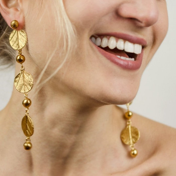 Gold Statement Nature Inspired Drop Dangle Earrings