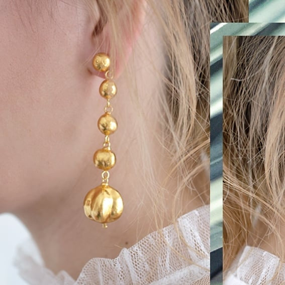 GENEVIEVE: Gold Nature Inspired Statement Drop Earrings