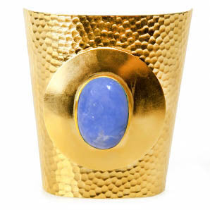 Gold-plated, statement cuff with a blue Howlite stone