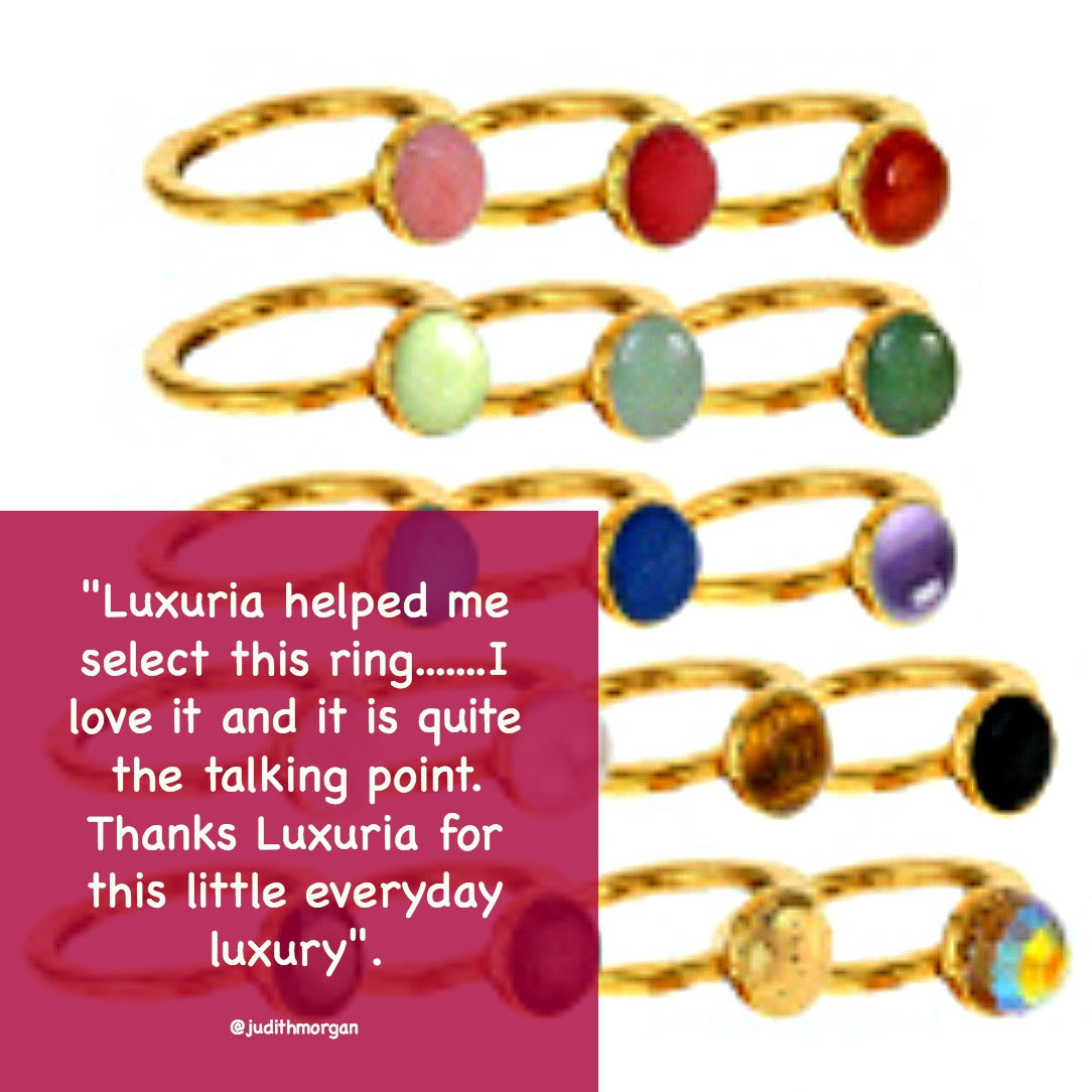 Gemstone stackable rings that can be worn singly or stacked. 17 gemstones to choose from.