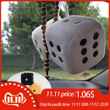 Load image into Gallery viewer, 1 Pair Fuzzy Dice White Dots Rear View Mirror Hangers Vintage Car Pendant Interior Decoration Auto Accessories