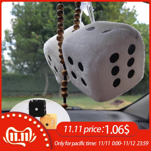 1 Pair Fuzzy Dice White Dots Rear View Mirror Hangers Vintage Car Pendant Interior Decoration Auto Accessories