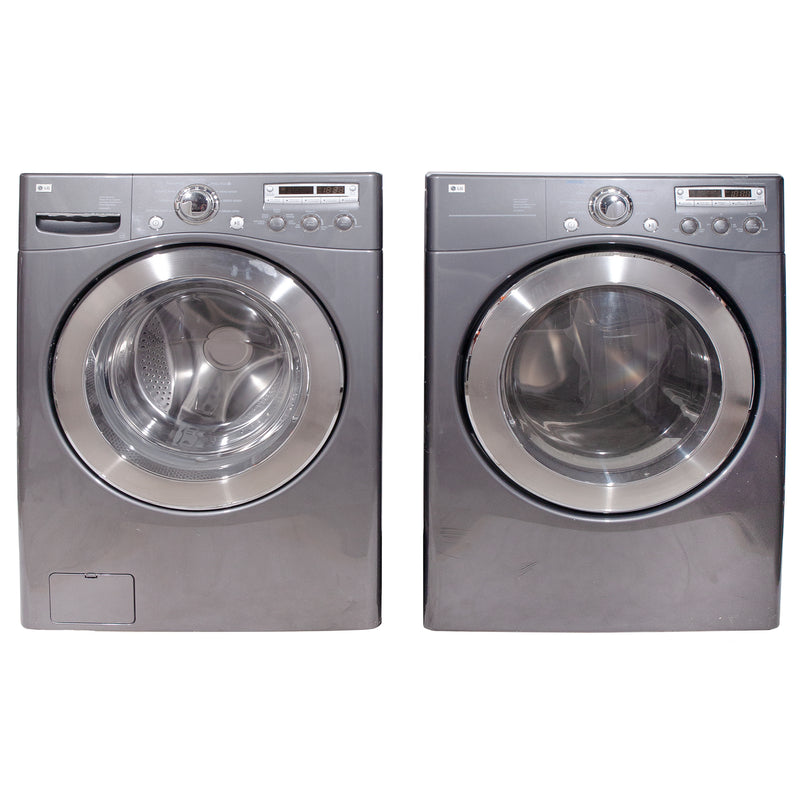 LG 27'' Stackable Laundry Pair Duos laveuse-sécheuse superposable WM2355CG and DLE5955G Gris