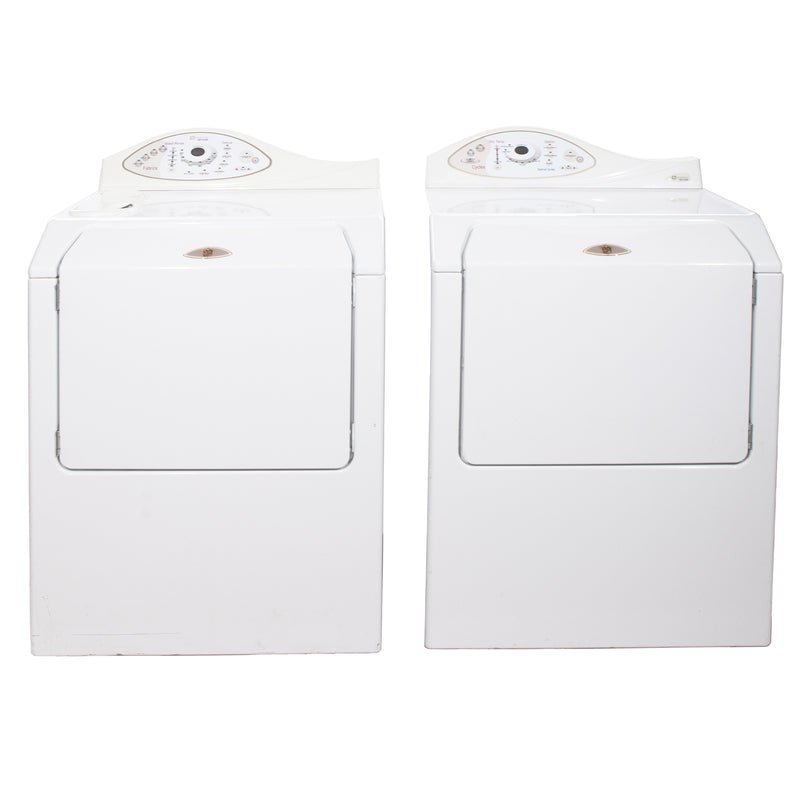 Maytag 27' Washer and Dryer Duos de lessive MAH5500BWW and MDE5500AZW Blanc