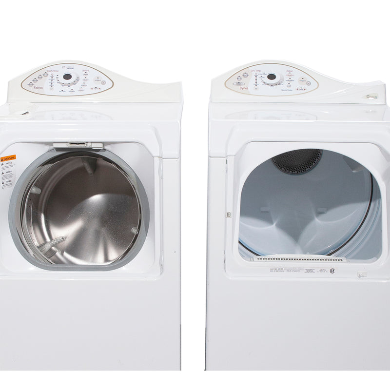Maytag 27' Washer and Dryer Duos de lessive MAH5500BWW and MDE5500AZW Blanc (1)