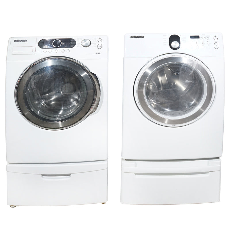 Samsung 27'' Stackable Laundry Pair Duos laveuse-sécheuse superposable WF337AAW/XAC and DV218AEW/XAC Blanc