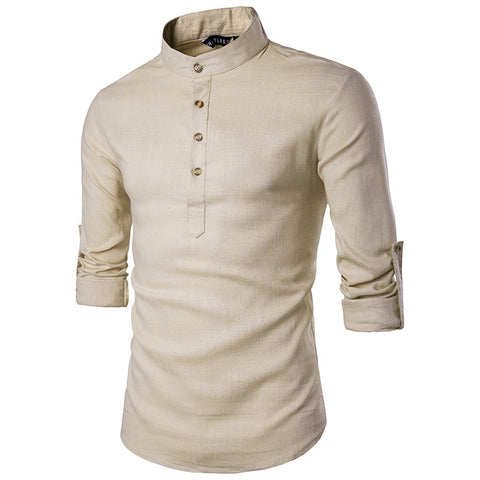 Euro Size Mens Linen Shirts Long Sleeve Button Down Solid Loose 2020 Spring Autumn Dress Henley Shirts Fashion Male Clothes