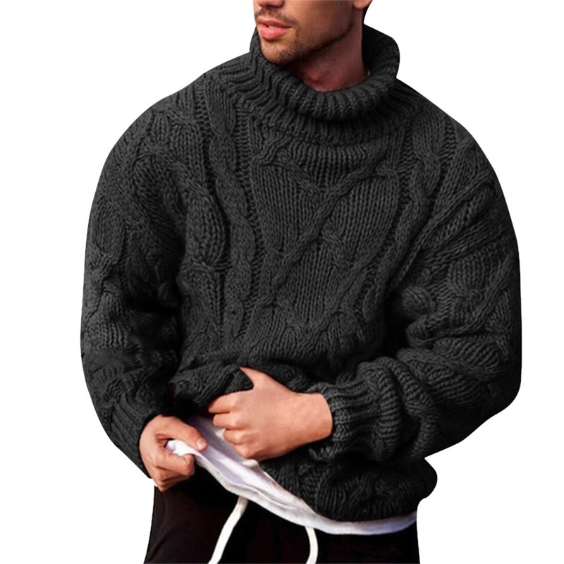 Puimentiua 2020 Turtleneck Sweater Men Pullover Autumn Winter Warm Thick Solid Long Sleeve Sweater Knitted Casual Men Knitwear