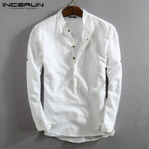 INCERUN Vintage Men Casual Shirt Long Sleeve Cotton Linen Stand Collar Solid Business Streetwear Henley Shirts Men Harajuku 2020