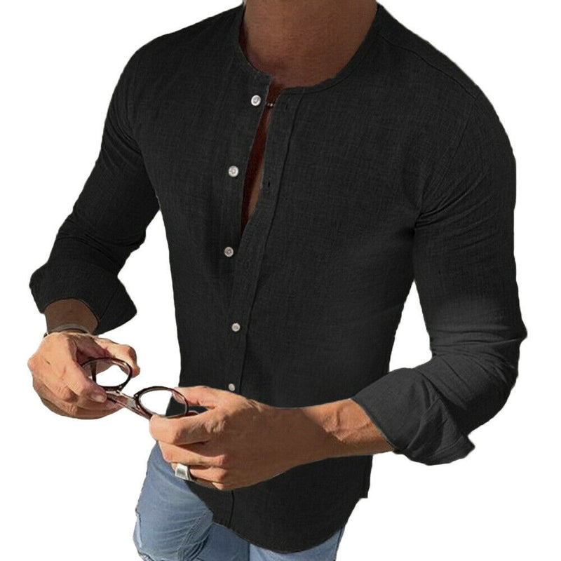 2019 New Men Business Shirts Long Sleeve Button Slim Fitness Shirts Blouse Men Muscle Casual Tops Henley Shirt Autumn Clothes