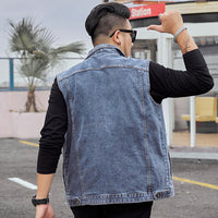 Denim Waistcoat Men Blue Jeans Young Sleeveless Jacket Autumn Slim Hip Hop Cowboy Man Vest Plus Size 6XL 7XL 8XL Hommes Veste