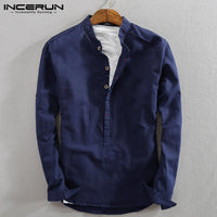 INCERUN Men Casual Shirt Cotton Linen Vintage Long Sleeve 2020 Stand Collar Solid Streetwear Business Henley Shirts Men Harajuku