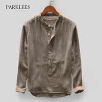 Henley Shirts Men 2020 Autumn Fashion Long Sleeve Mens Shirt Casual Comfortable Breathable Camisas Stand Collar Chemise Homme