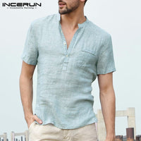 INCERUN Men Casual Shirts Short Sleeve Mens Henley Collar V Neck Basic Color Button Loose Fit Camisa Masculina Summer Tops S-3XL