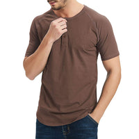2020 Casual Henley Shirts T Shirt Men Short Sleeve Solid Comfort Soft Classic T-Shirts 3  Buttons Top Tee Tshirt