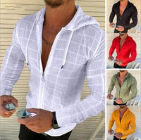 Summer Man Shirt 2020 Mens Casual zipper Long Sleeve Loose Hawaiian Henley Shirt hawaiian High quality With hood Shirt
