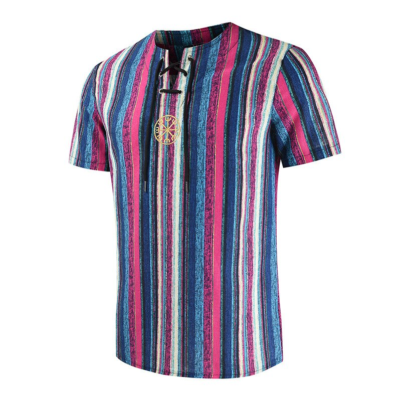Cotton Linen Stripe Short Sleeve Loose Henley Man Shirt Summer Men Shirt Ethnic Printed Stand Collar Fashion Comfortable Clothes