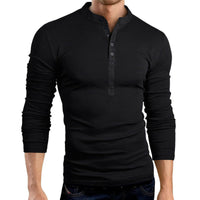 Hirigin Autumn Thin Blouse 2020 Mens Slim Fit V Neck Long Sleeve Muscle Tee Shirt Casual Tops Henley Shirts solid color