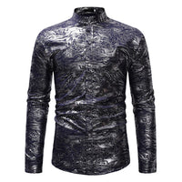 Psychedelic Clouds Foil Print Stand Collar Men Shirt Slim Fit Long Sleeve Dress Shirt Men Casual Wedding Party Henley Shirt Male