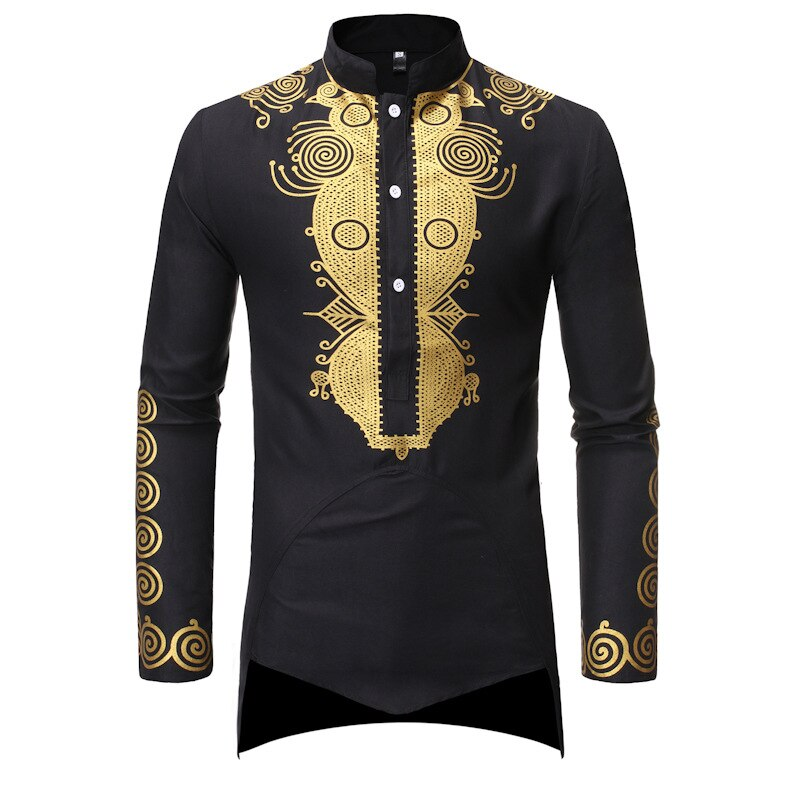 Mens Dashiki African Tribal Clothing Printed Long Henley Shirt Chemise Homme Traditional Ethnic Slim Fit Outfit Plus Size