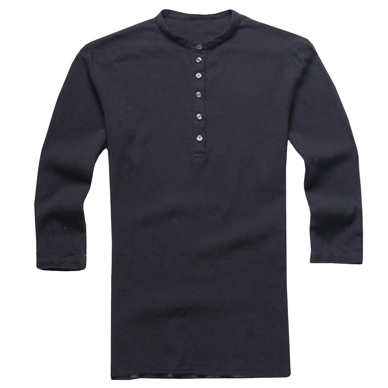 Men's casual shirt 3/4 sleeve hippie henley tops  New Brand Solid Shirt Men Short Sleeve  Men  Shirt 2019 Autumn