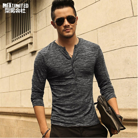 New Men Henley Shirt new Tee Tops Long Sleeve Stylish Slim Fit T-shirt Button placket Casual men Outwears Popular Design