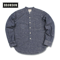 Bronson 1900s Henley Work Shirts Vintage Fall Men's Chambray Long Sleeves Workshirts